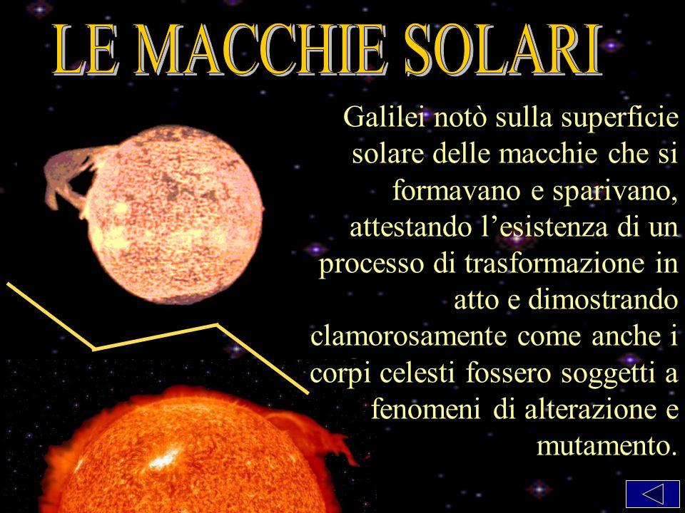 Galilei notò sulla superficie solare delle macchie che si formavano e sparivano, attestando lesistenza di un processo di trasformazione in atto e dimostrando clamorosamente come anche i corpi celesti fossero soggetti a fenomeni di alterazione e mutamento.