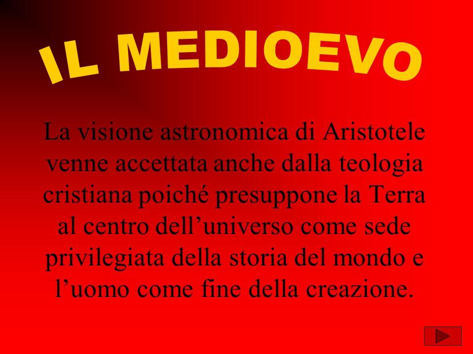 La visione astronomica di Aristotele venne accettata anche dalla teologia cristiana poiché presuppone la Terra al centro delluniverso come sede privilegiata della storia del mondo e luomo come fine della creazione.