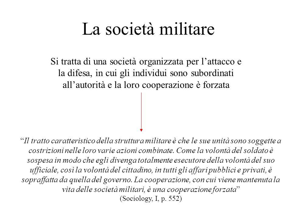 La società militare Si tratta di una società organizzata per lattacco e la difesa, in cui gli individui sono subordinati allautorità e la loro coopera