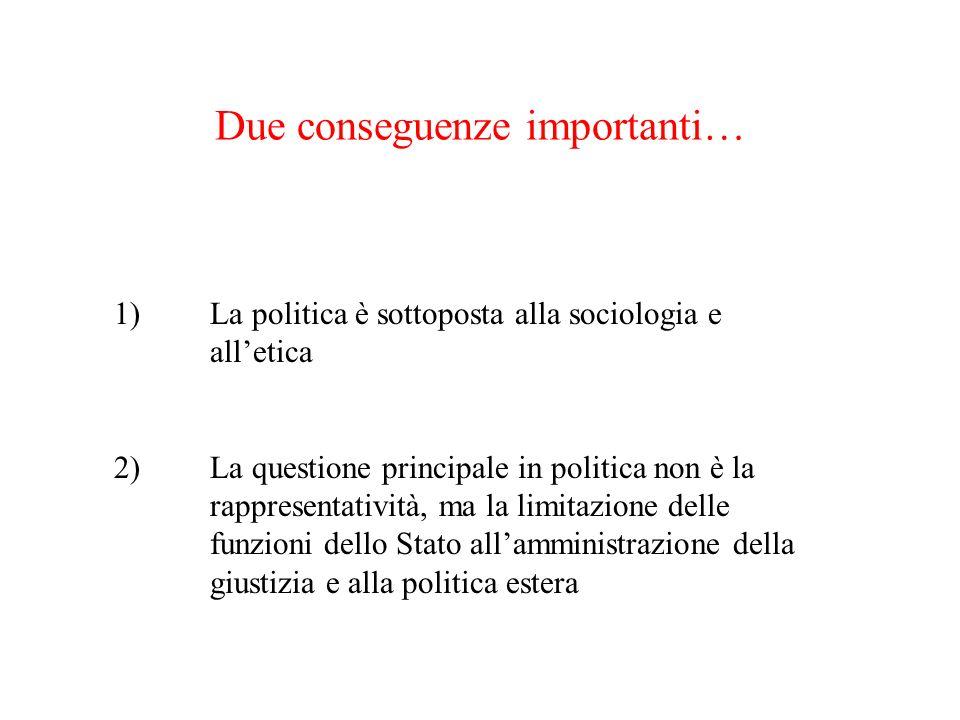 Due conseguenze importanti… 1)La politica è sottoposta alla sociologia e alletica 2)La questione principale in politica non è la rappresentatività, ma