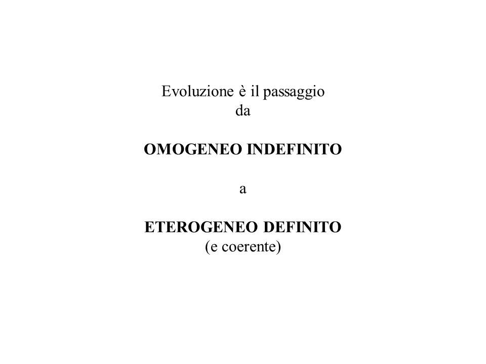 Evoluzione è il passaggio da OMOGENEO INDEFINITO a ETEROGENEO DEFINITO (e coerente)