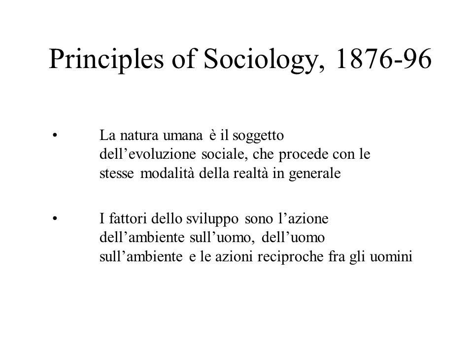 Principles of Sociology, 1876-96 La natura umana è il soggetto dellevoluzione sociale, che procede con le stesse modalità della realtà in generale I f