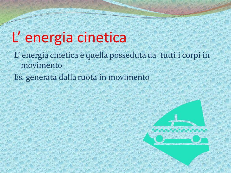 L energia cinetica L energia cinetica è quella posseduta da tutti i corpi in movimento Es. generata dalla ruota in movimento