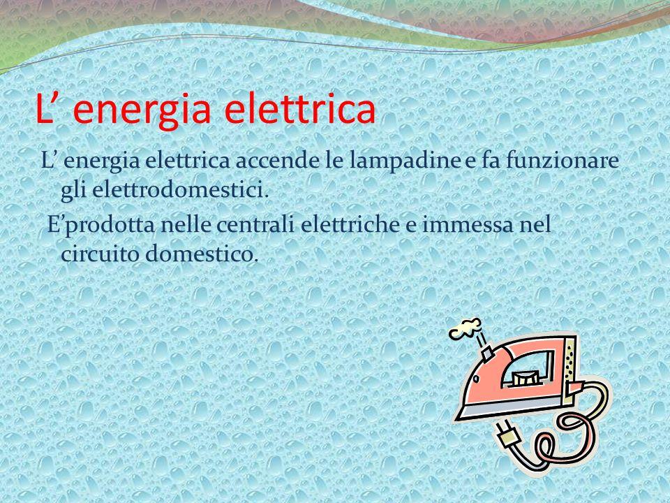 L energia elettrica L energia elettrica accende le lampadine e fa funzionare gli elettrodomestici. Eprodotta nelle centrali elettriche e immessa nel c