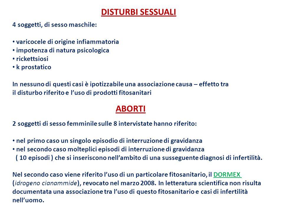 DISTURBI SESSUALI 4 soggetti, di sesso maschile: varicocele di origine infiammatoria impotenza di natura psicologica rickettsiosi k prostatico In ness