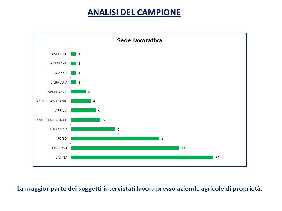 La maggior parte dei soggetti intervistati lavora presso aziende agricole di proprietà.