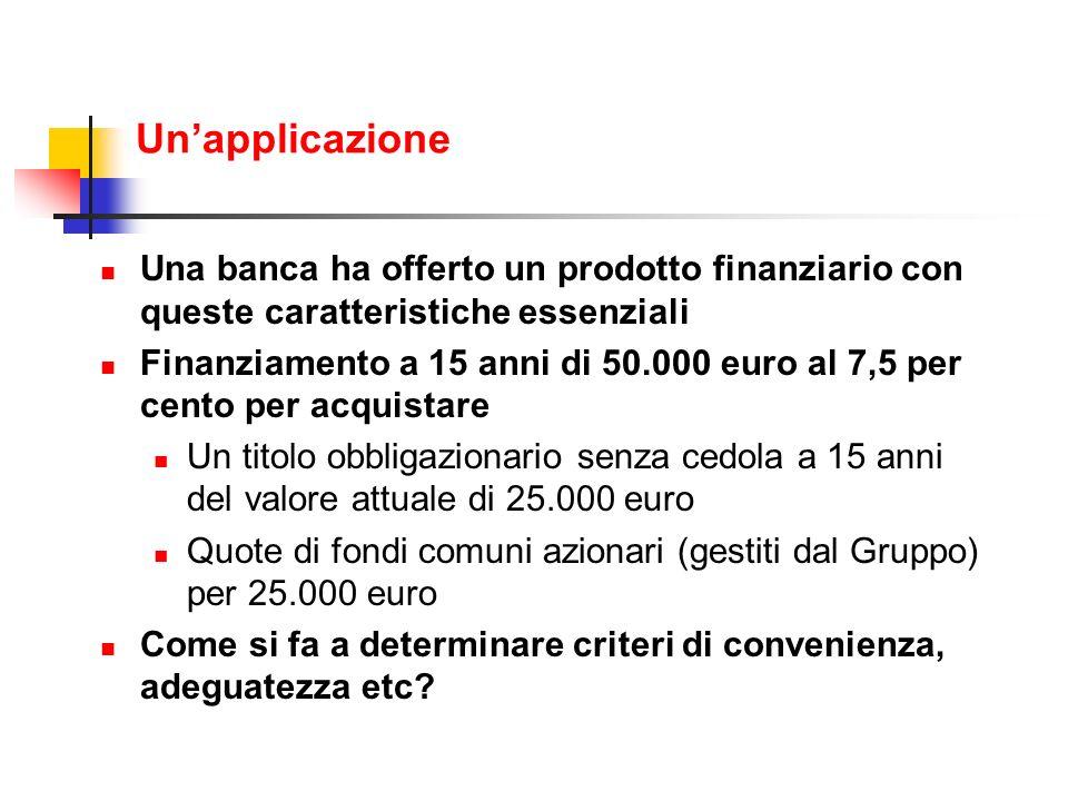 Unapplicazione Una banca ha offerto un prodotto finanziario con queste caratteristiche essenziali Finanziamento a 15 anni di 50.000 euro al 7,5 per ce