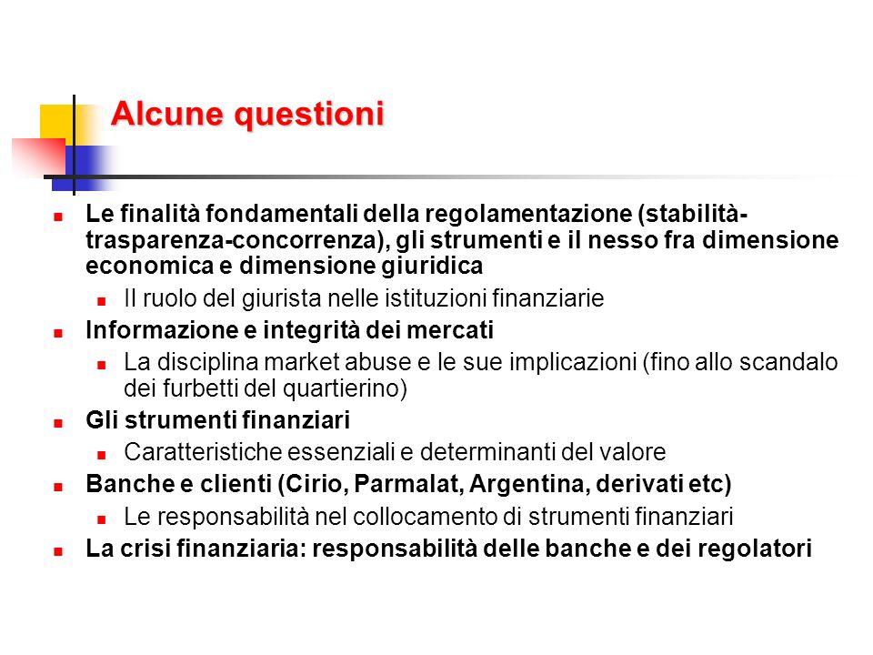 Argomenti Il sistema finanziario Le funzioni fondamentali Le specificità della regolamentazione Le fonti della regolamentazione Servizi e prodotti offerti I soggetti Le banche Gli investitori istituzionali I mercati Gli strumenti Azioni Obbligazioni Derivati