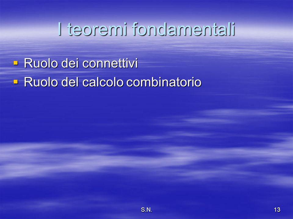 S.N.13 I teoremi fondamentali Ruolo dei connettivi Ruolo dei connettivi Ruolo del calcolo combinatorio Ruolo del calcolo combinatorio
