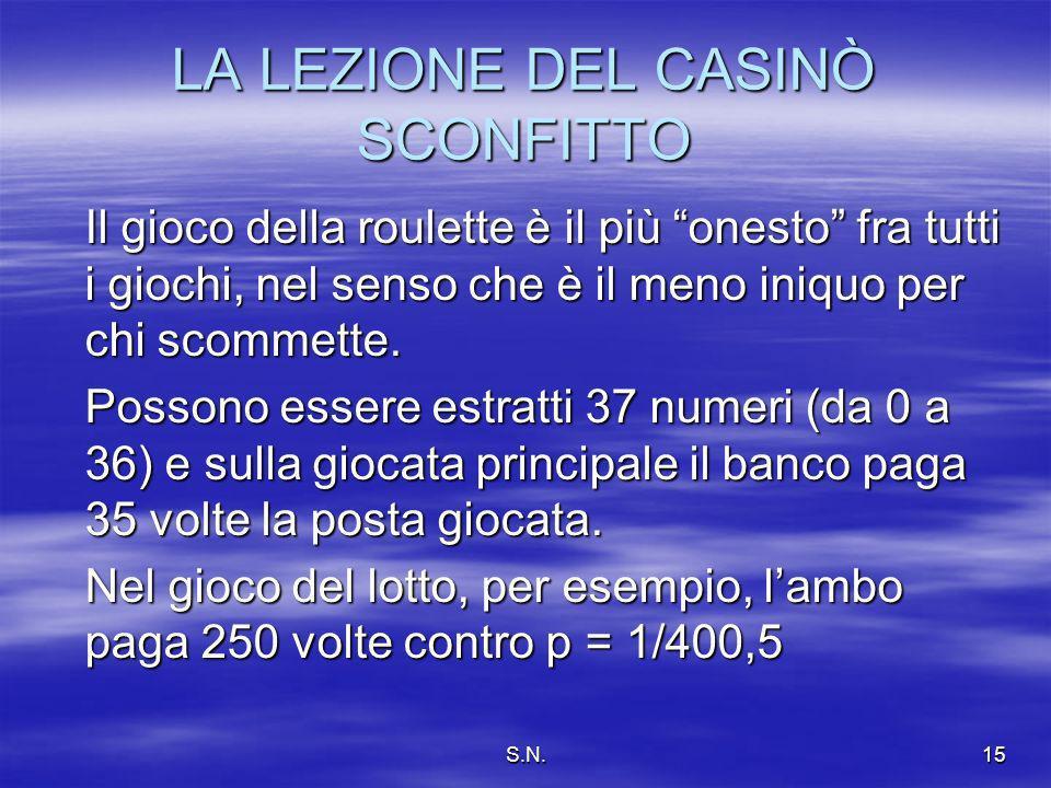 S.N.15 LA LEZIONE DEL CASINÒ SCONFITTO Il gioco della roulette è il più onesto fra tutti i giochi, nel senso che è il meno iniquo per chi scommette.