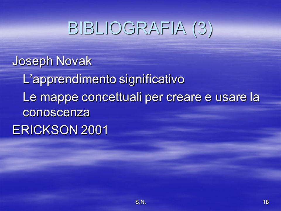 S.N.18 BIBLIOGRAFIA (3) Joseph Novak Lapprendimento significativo Le mappe concettuali per creare e usare la conoscenza ERICKSON 2001