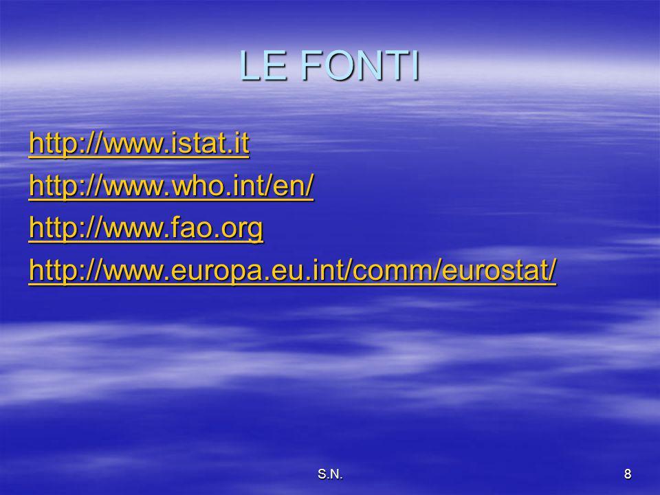 S.N.8 LE FONTI http://www.istat.it http://www.who.int/en/ http://www.fao.org http://www.europa.eu.int/comm/eurostat/