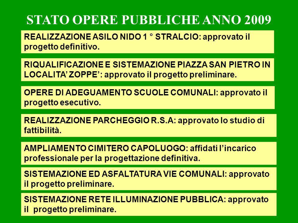 STATO OPERE PUBBLICHE ANNO 2009 REALIZZAZIONE ASILO NIDO 1 ° STRALCIO: approvato il progetto definitivo.