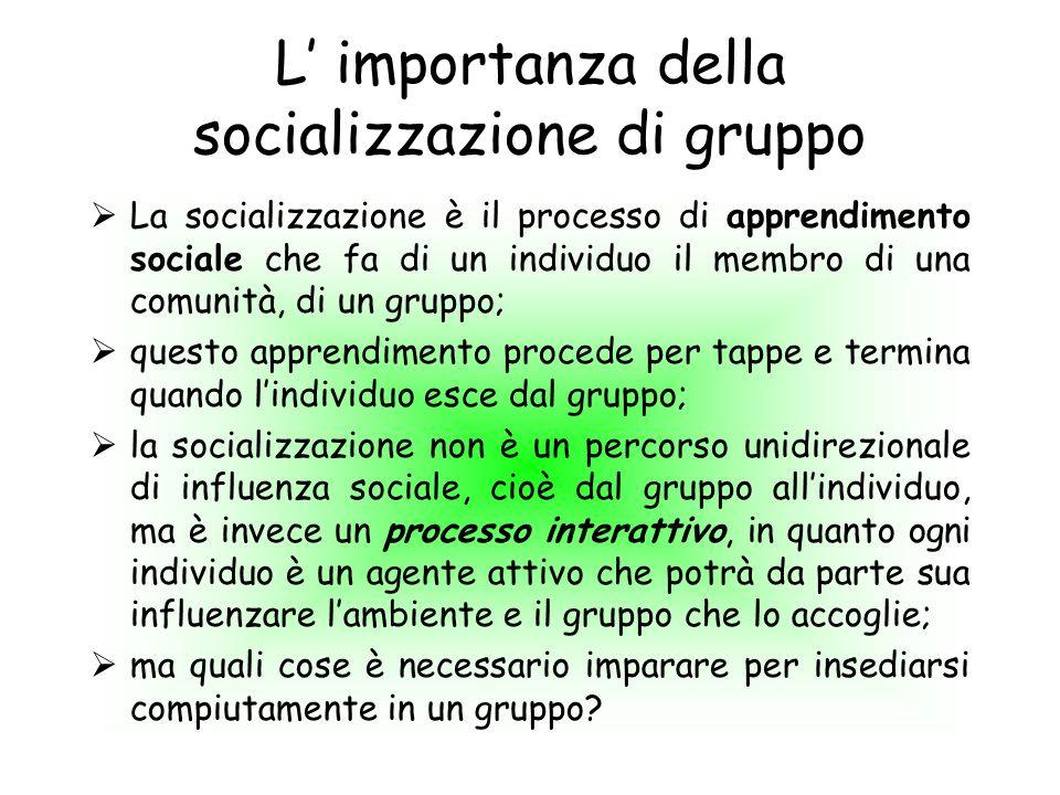 L importanza della socializzazione di gruppo La socializzazione è il processo di apprendimento sociale che fa di un individuo il membro di una comunit