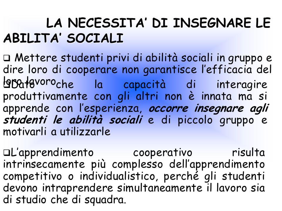 LA NECESSITA DI INSEGNARE LE ABILITA SOCIALI LA NECESSITA DI INSEGNARE LE ABILITA SOCIALI Mettere studenti privi di abilità sociali in gruppo e dire l