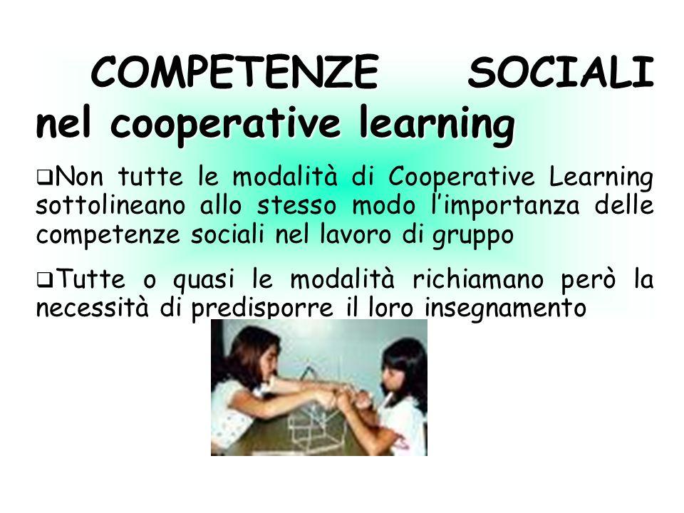 COMPETENZE SOCIALI nel cooperative learning COMPETENZE SOCIALI nel cooperative learning Non tutte le modalità di Cooperative Learning sottolineano all
