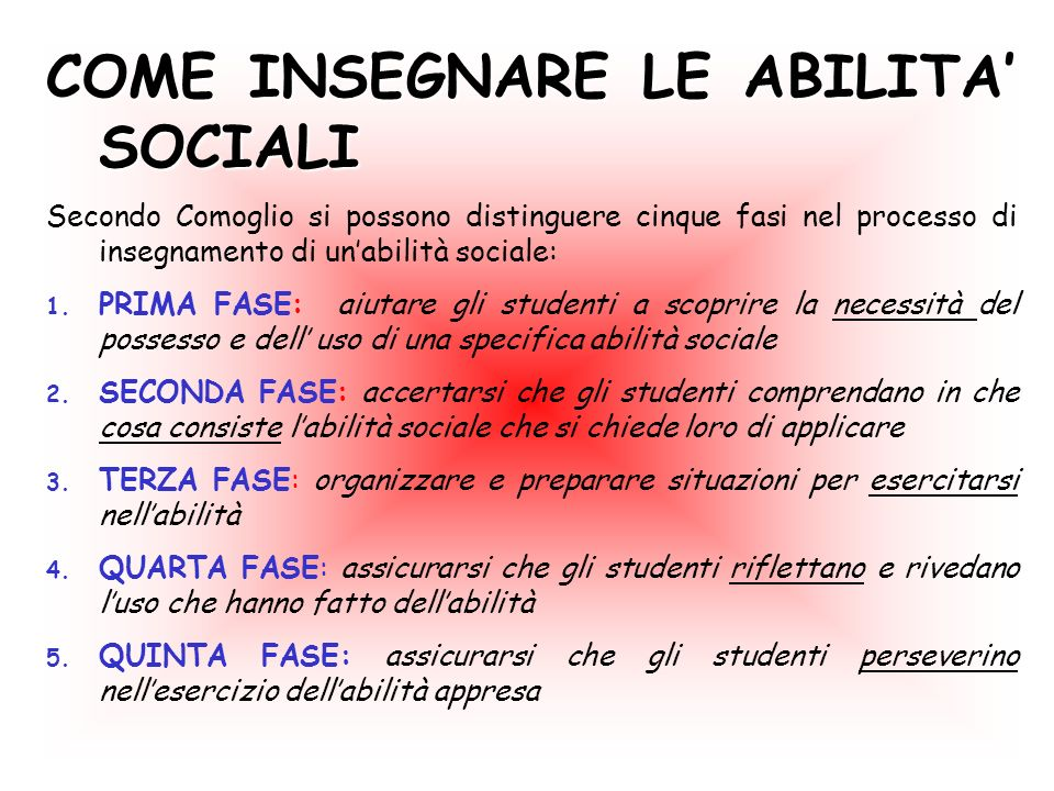 COME INSEGNARE LE ABILITA SOCIALI Secondo Comoglio si possono distinguere cinque fasi nel processo di insegnamento di unabilità sociale: 1. PRIMA FASE