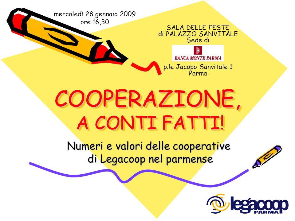 COOPERAZIONE, A CONTI FATTI! Numeri e valori delle cooperative di Legacoop nel parmense di Legacoop nel parmense SALA DELLE FESTE di PALAZZO SANVITALE