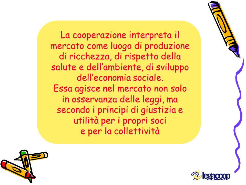 La cooperazione interpreta il mercato come luogo di produzione di ricchezza, di rispetto della salute e dellambiente, di sviluppo delleconomia sociale
