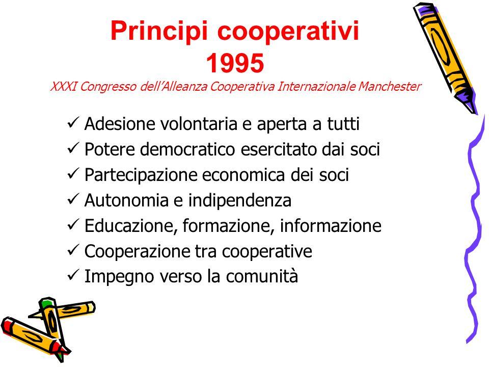 Adesione volontaria e aperta a tutti Potere democratico esercitato dai soci Partecipazione economica dei soci Autonomia e indipendenza Educazione, for