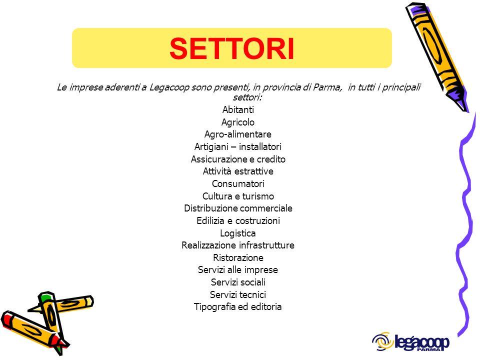 SETTORI Le imprese aderenti a Legacoop sono presenti, in provincia di Parma, in tutti i principali settori: Abitanti Agricolo Agro-alimentare Artigian