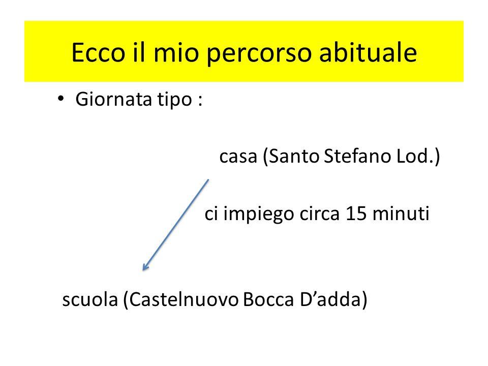 Ecco il mio percorso abituale Giornata tipo : casa (Santo Stefano Lod.) ci impiego circa 15 minuti scuola (Castelnuovo Bocca Dadda)