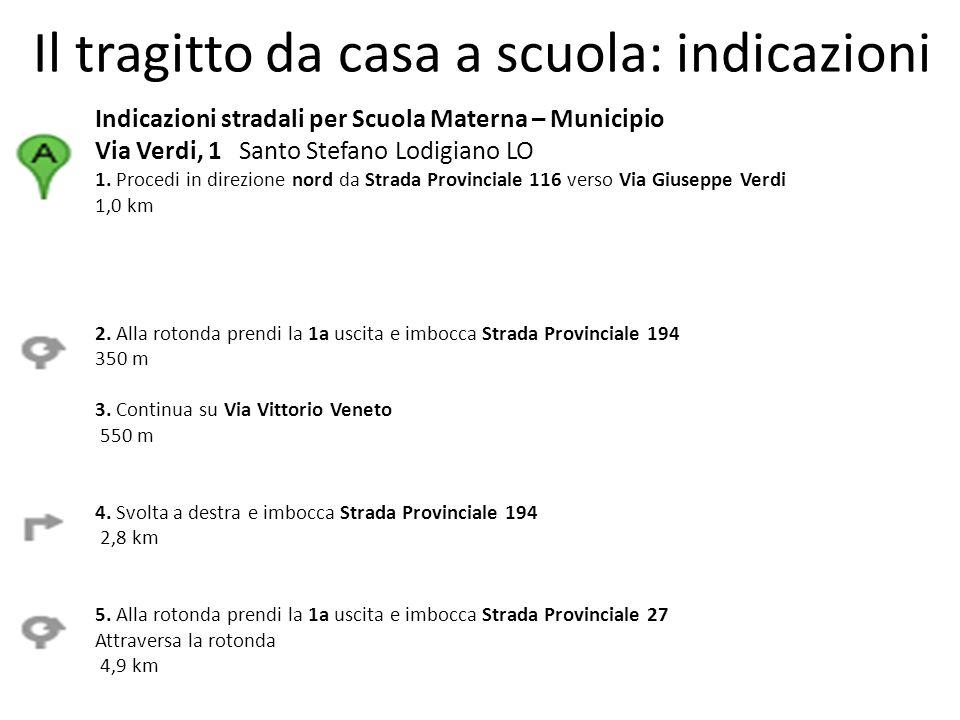 Il tragitto da casa a scuola: indicazioni Indicazioni stradali per Scuola Materna – Municipio Via Verdi, 1 Santo Stefano Lodigiano LO 1.