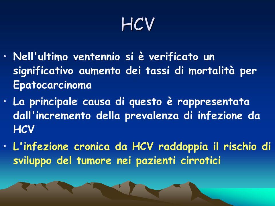 HCV Nell'ultimo ventennio si è verificato un significativo aumento dei tassi di mortalità per Epatocarcinoma La principale causa di questo è rappresen