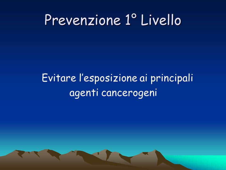 Prevenzione 1° Livello Evitare lesposizione ai principali agenti cancerogeni