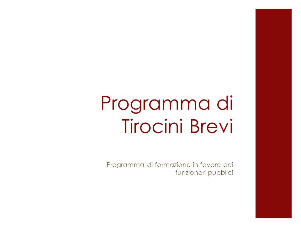 Programma di Tirocini Brevi Programma di formazione in favore dei funzionari pubblici