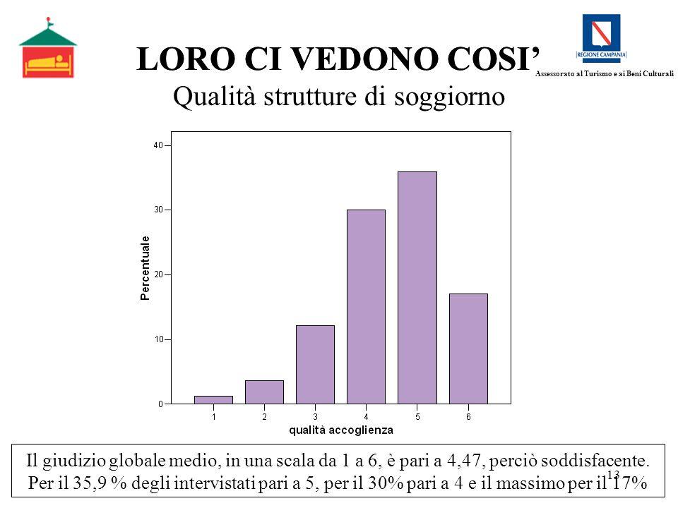 13 LORO CI VEDONO COSI Qualità strutture di soggiorno Il giudizio globale medio, in una scala da 1 a 6, è pari a 4,47, perciò soddisfacente. Per il 35