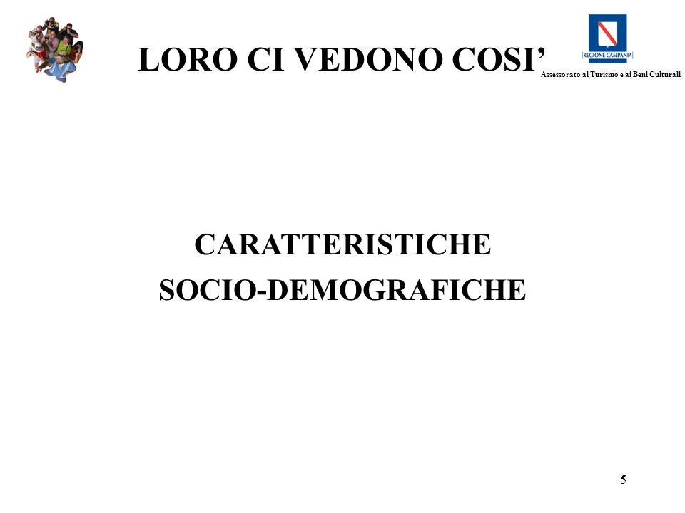 5 CARATTERISTICHE SOCIO-DEMOGRAFICHE LORO CI VEDONO COSI Assessorato al Turismo e ai Beni Culturali