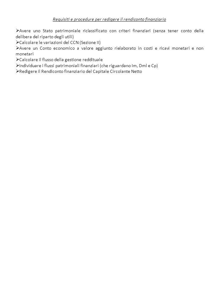 Requisiti e procedure per redigere il rendiconto finanziario Avere uno Stato patrimoniale riclassificato con criteri finanziari (senza tener conto del