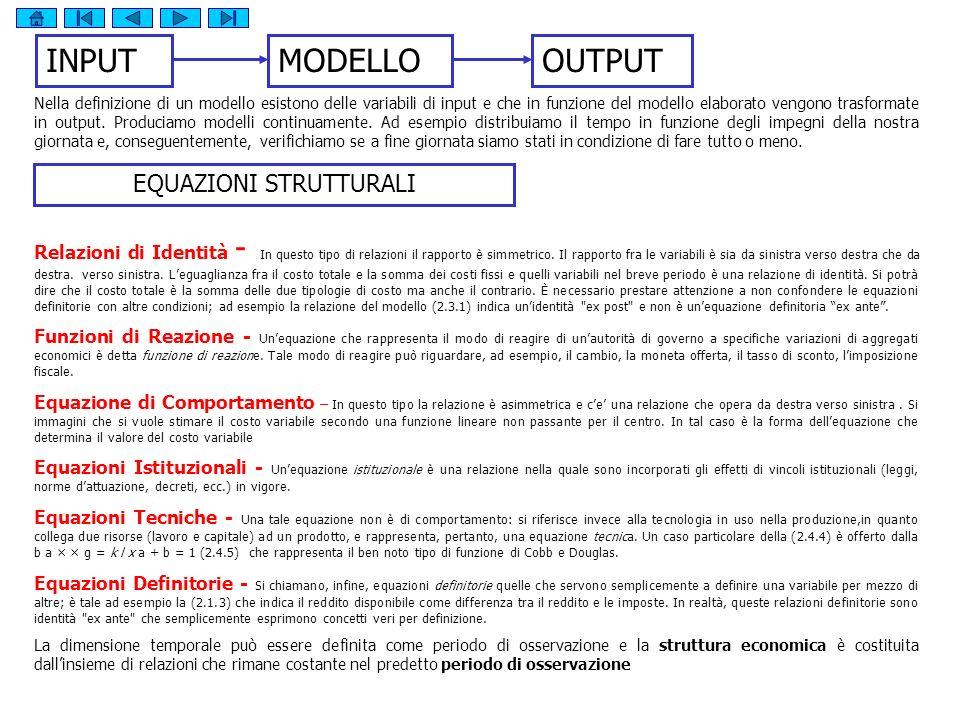 INPUTMODELLOOUTPUT Nella definizione di un modello esistono delle variabili di input e che in funzione del modello elaborato vengono trasformate in output.