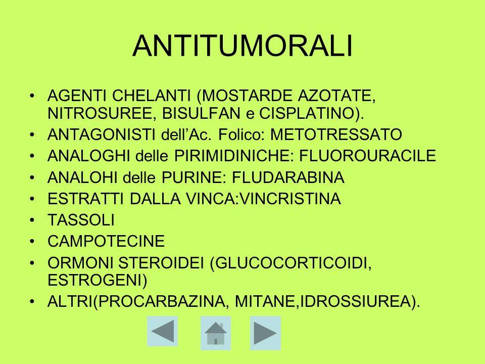 ANTITUMORALI AGENTI CHELANTI (MOSTARDE AZOTATE, NITROSUREE, BISULFAN e CISPLATINO). ANTAGONISTI dellAc. Folico: METOTRESSATO ANALOGHI delle PIRIMIDINI