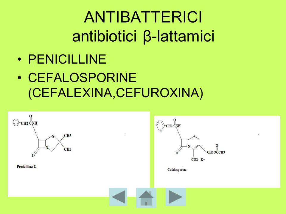 ANTIBATTERICI antibiotici β-lattamici PENICILLINE CEFALOSPORINE (CEFALEXINA,CEFUROXINA)