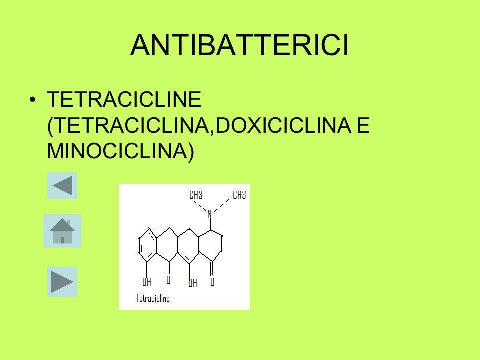 ANTIBATTERICI TETRACICLINE (TETRACICLINA,DOXICICLINA E MINOCICLINA)