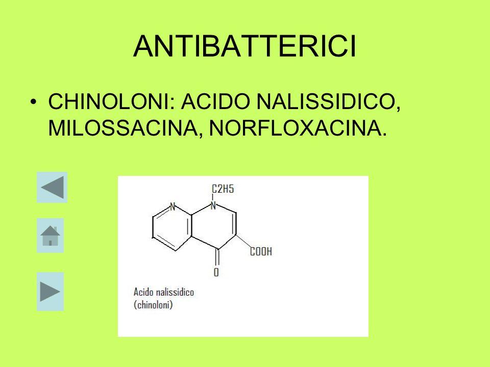 ANTIBATTERICI CHINOLONI: ACIDO NALISSIDICO, MILOSSACINA, NORFLOXACINA.