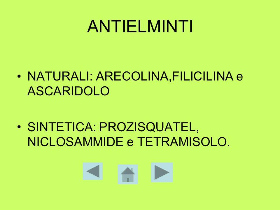 ANTIELMINTI NATURALI: ARECOLINA,FILICILINA e ASCARIDOLO SINTETICA: PROZISQUATEL, NICLOSAMMIDE e TETRAMISOLO.