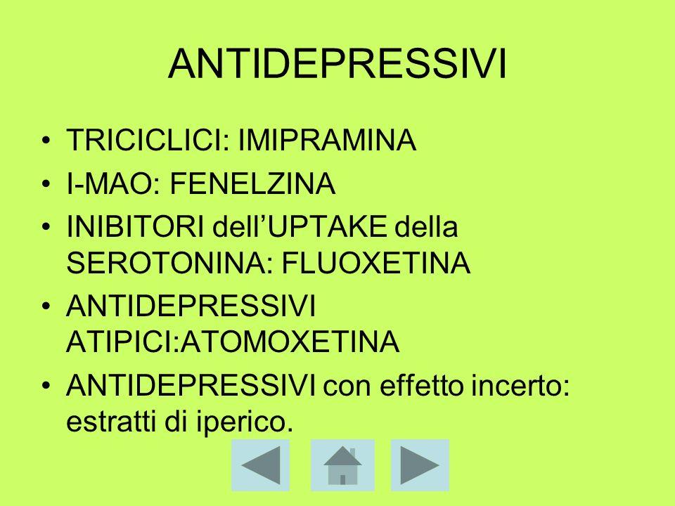 ANTIDEPRESSIVI TRICICLICI: IMIPRAMINA I-MAO: FENELZINA INIBITORI dellUPTAKE della SEROTONINA: FLUOXETINA ANTIDEPRESSIVI ATIPICI:ATOMOXETINA ANTIDEPRES