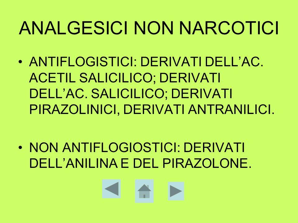 ANALGESICI NON NARCOTICI ANTIFLOGISTICI: DERIVATI DELLAC. ACETIL SALICILICO; DERIVATI DELLAC. SALICILICO; DERIVATI PIRAZOLINICI, DERIVATI ANTRANILICI.