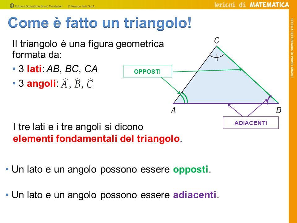 Il triangolo è una figura geometrica formata da: 3 lati: AB, BC, CA 3 angoli: I tre lati e i tre angoli si dicono elementi fondamentali del triangolo.