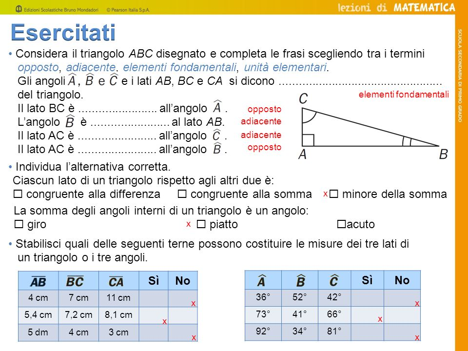 Considera il triangolo ABC disegnato e completa le frasi scegliendo tra i termini opposto, adiacente, elementi fondamentali, unità elementari. Gli ang