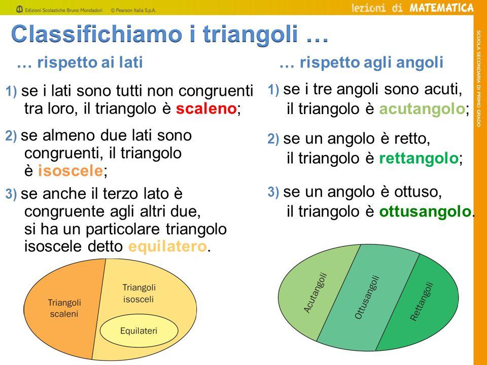 … rispetto ai lati 1) se i lati sono tutti non congruenti tra loro, il triangolo è scaleno; … rispetto agli angoli 1) se i tre angoli sono acuti, il t