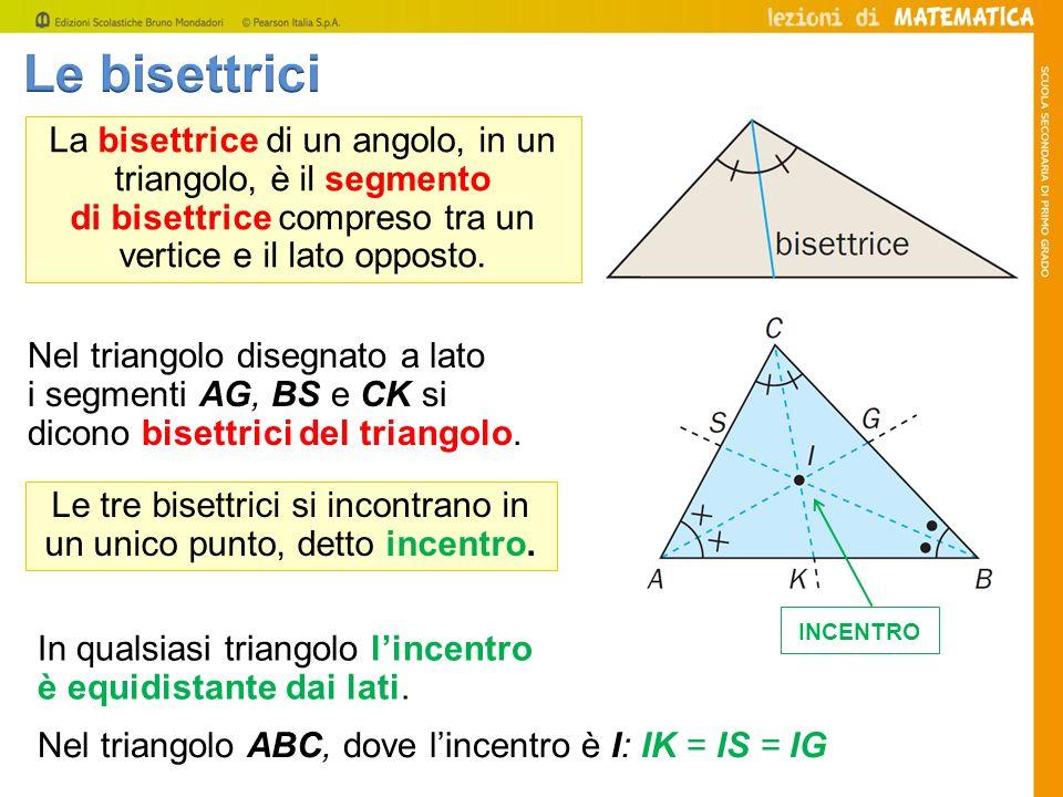 La bisettrice di un angolo, in un triangolo, è il segmento di bisettrice compreso tra un vertice e il lato opposto. Nel triangolo ABC, dove lincentro