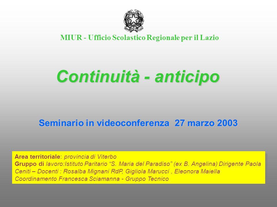 MIUR - Ufficio Scolastico Regionale per il Lazio Continuità - anticipo Area territoriale: provincia di Viterbo Gruppo di lavoro:Istituto Paritario S.