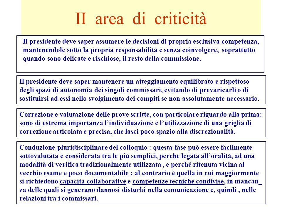 II area di criticità Il presidente deve saper assumere le decisioni di propria esclusiva competenza, mantenendole sotto la propria responsabilità e se