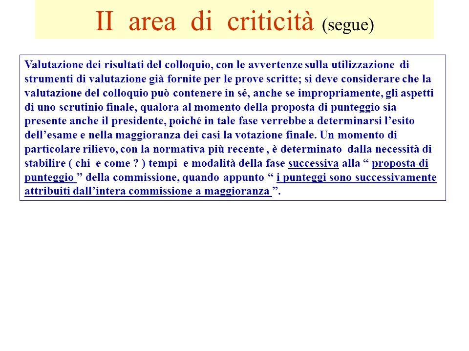 II area di criticità (segue) Valutazione dei risultati del colloquio, con le avvertenze sulla utilizzazione di strumenti di valutazione già fornite pe