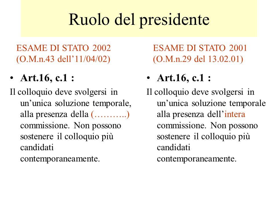 Ruolo del presidente Art.16, c.1 : Il colloquio deve svolgersi in ununica soluzione temporale, alla presenza della (………..) commissione. Non possono so