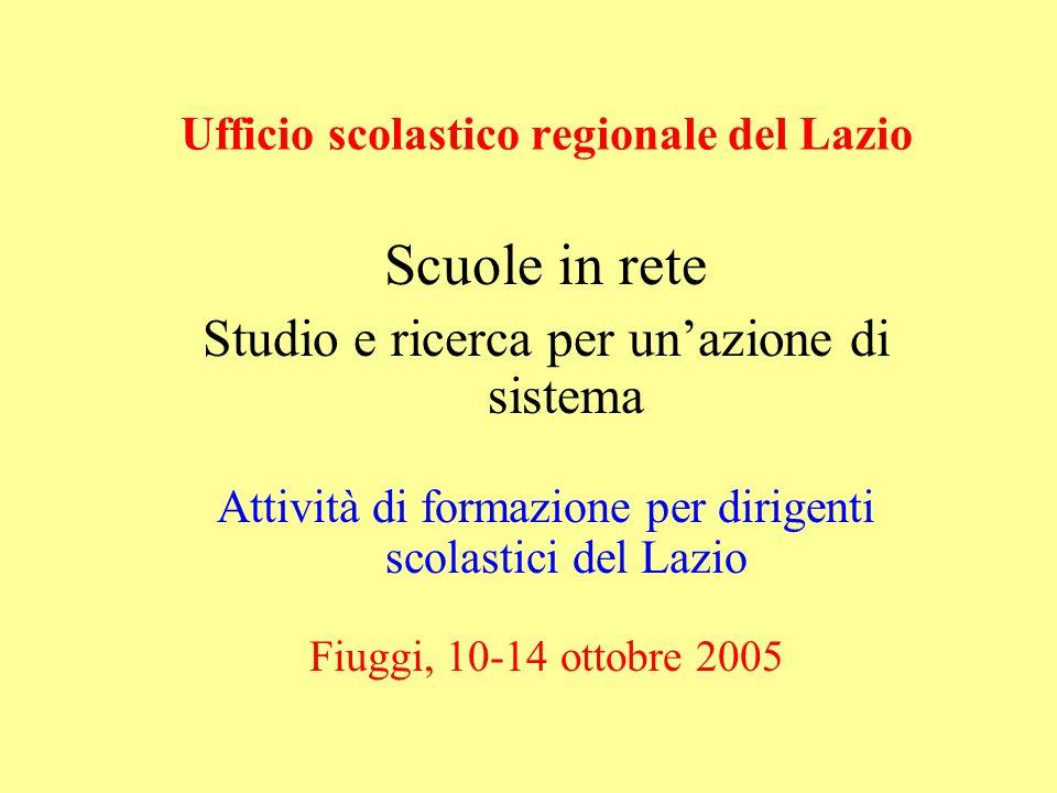 Ufficio scolastico regionale del Lazio Scuole in rete Studio e ricerca per unazione di sistema Attività di formazione per dirigenti scolastici del Laz
